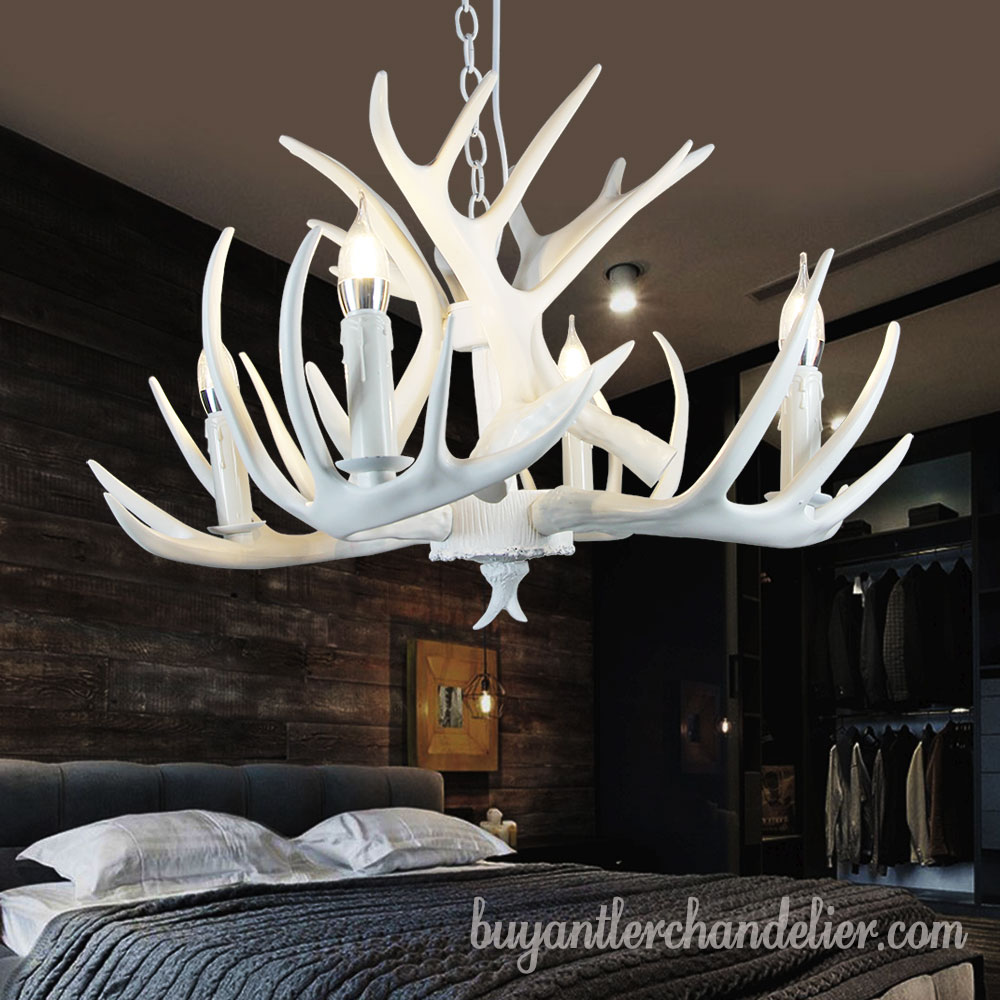 Pure White Deer Antler Chandelier 4 Cast Candle Style Bedroom Ceiling Lights Rustic Lighting Fixtures