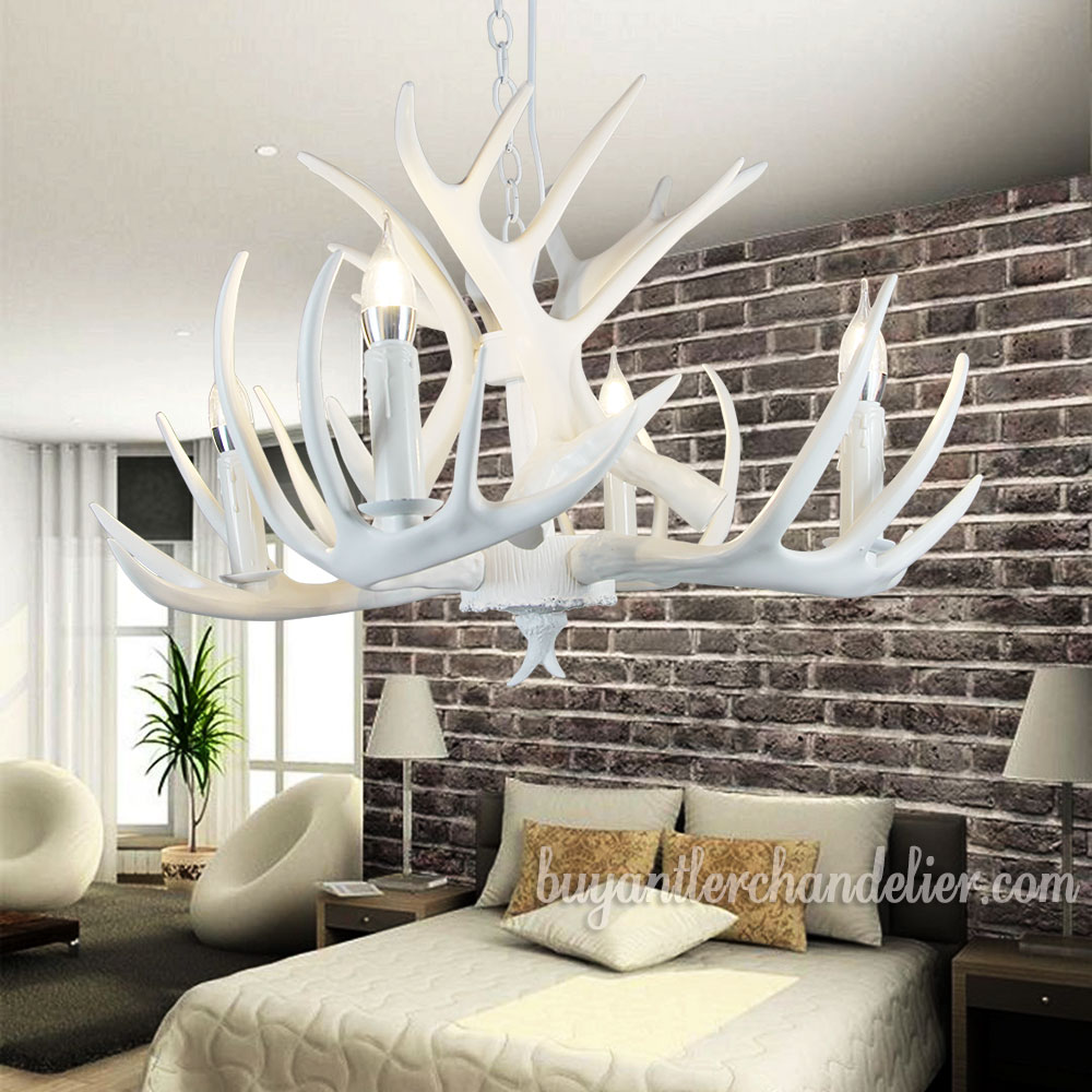 Pure White Deer Antler Chandelier Ceiling Lights Bedroom Lighting ...