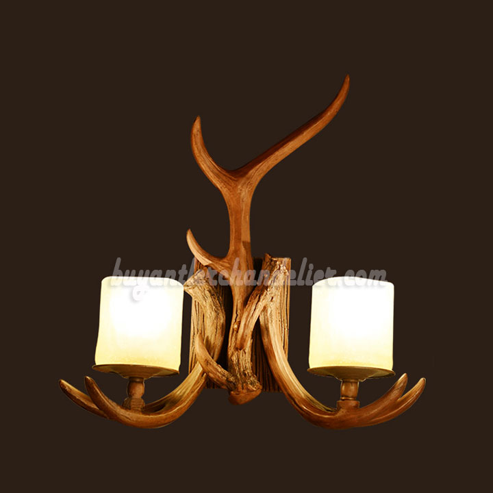 Rustic Style Wall Lights : 2 Cast Antler Wall Sconces Corridor Lamps Candle-Style Lights buyantlerchandelier.com