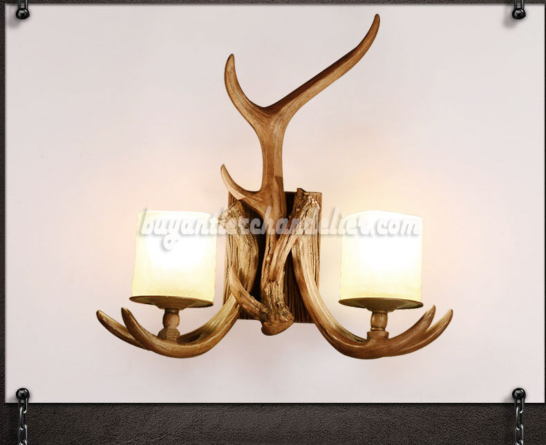Chandelier Style Wall Sconces : 2 Cast Antler Wall Sconces Corridor Lamps Candle-Style Lights buyantlerchandelier.com