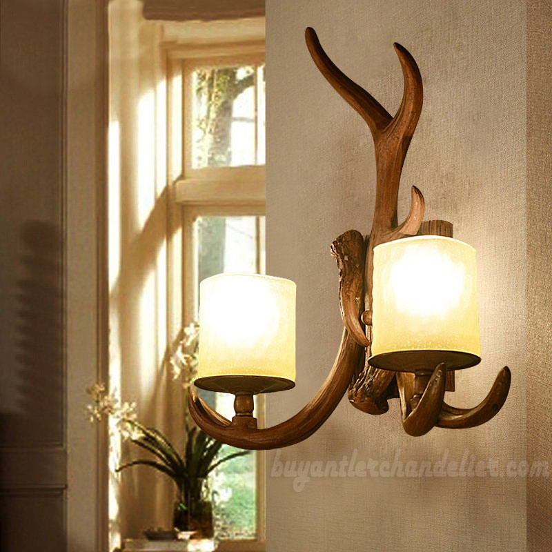 2 Cast Antler Wall Sconces Corridor Lamps Candle-Style Lights ...