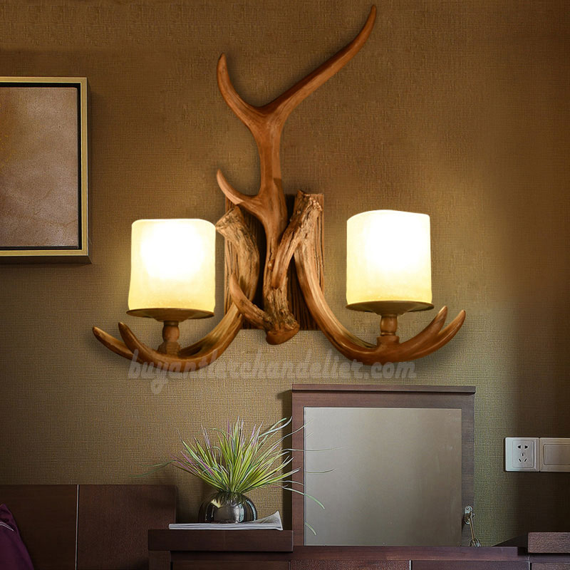 2 Cast Antler Wall Sconces Corridor Porch Bedside Lamps Candle Style Lights Rustic Lighting Fixtures