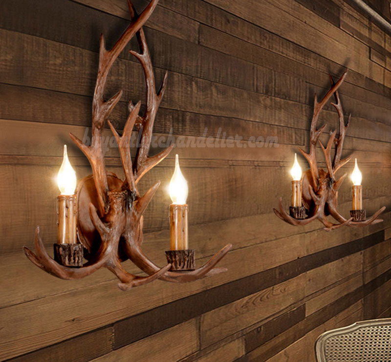 Elk Deer Antler Wall Sconces Corridor Lamps Rustic Mount