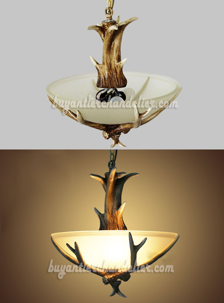 3 Cast Deer Antler Chandelier Semi Flush Three Ceiling Lights Rustic Style Lighting Fixtures