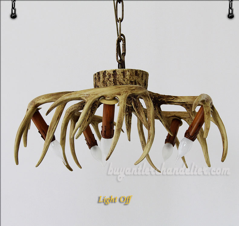 5 Cast Deer Antler Chandelier Inverted Hanging Ceiling Lights ...