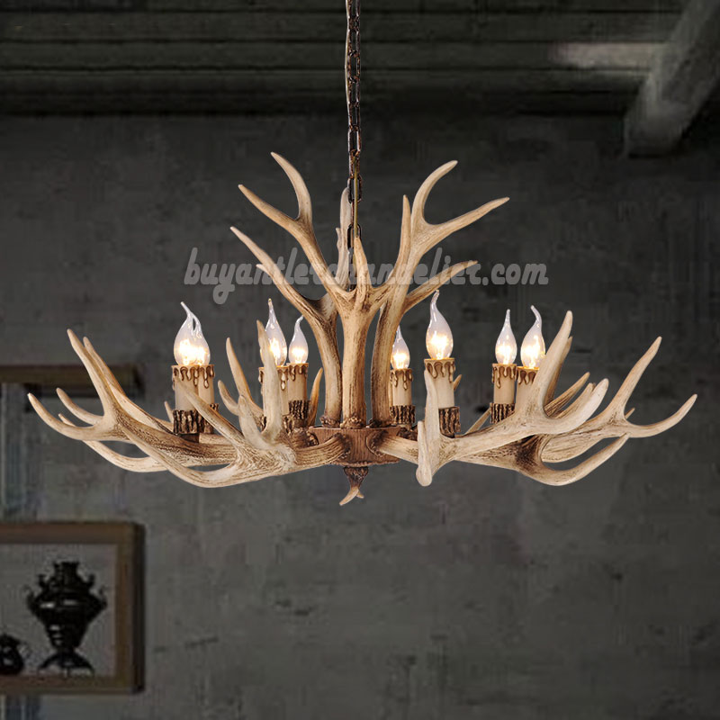 8 Elk Deer Antler Chandelier Candle Style Eight Cast Cascade Ceiling Lights Rustic Lighting Natural