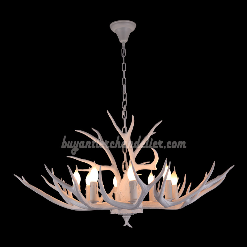 8 Whitetail Deer Antler Chandelier Pure White Eight Candelabra Ceiling Lights Hanging Lighting