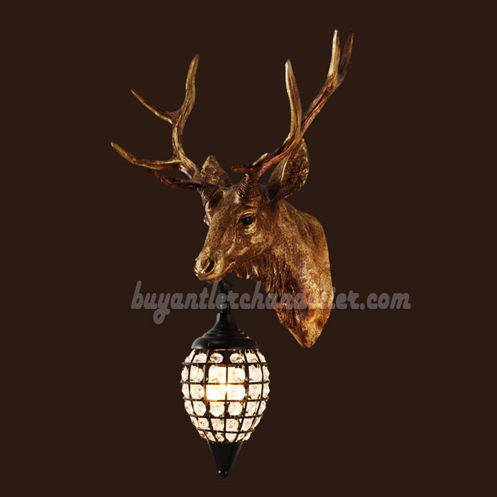 Elk deer head wall sconces lamps pendant light decor antique elk deer head antler wall sconces lamps mount crystal pendant light faux taxidermy decor aloadofball