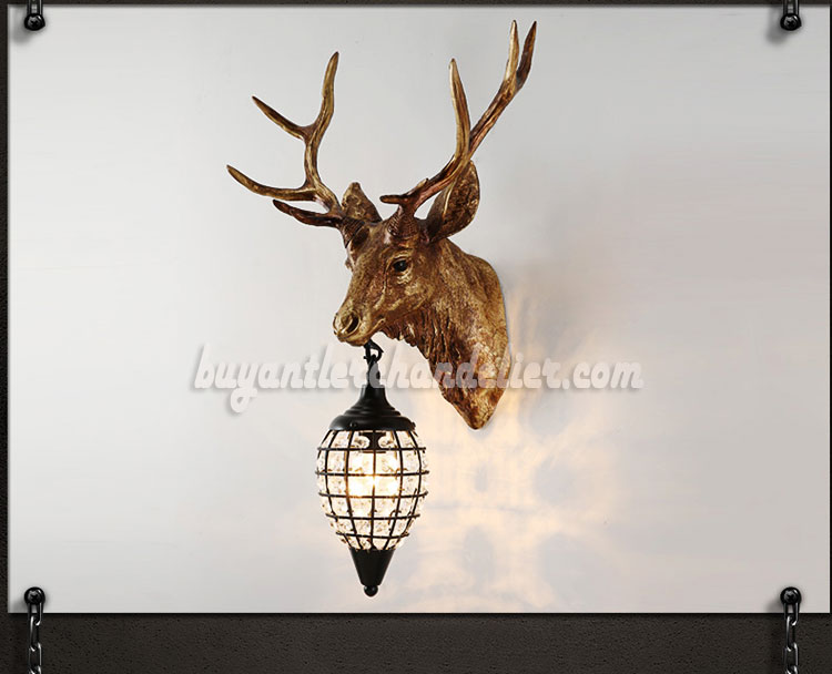 Antique Elk Deer Head Antler Wall Sconces Lamps Mount Crystal Pendant Light  Faux Taxidermy Decor