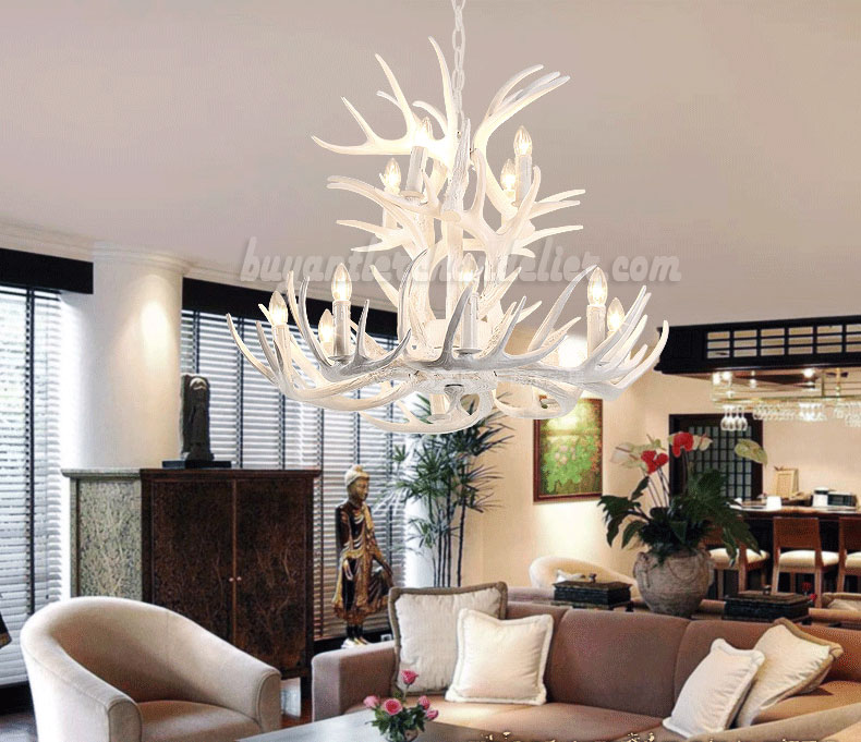Super 12 Cast Deer Antler Chandelier Pure White Ceiling Lights  OH02