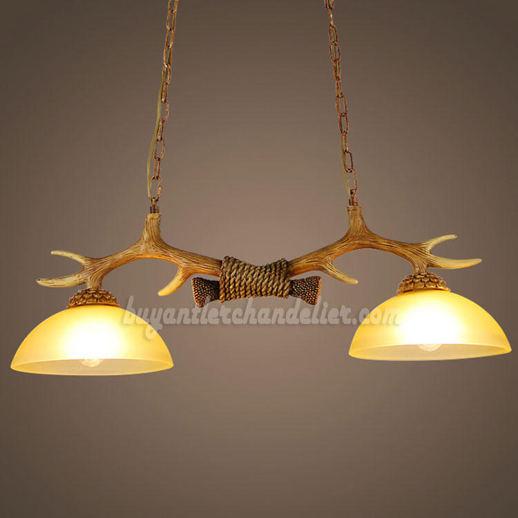 Best 2 Antler Chandelier Two Cast Ceiling Lights Antique Rustic Style Pendant Lighting Fixtures