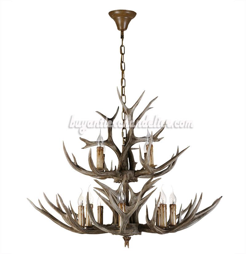 Buy 12 deer antler chandelier 2 tiers cascade candle style rustic buy 12 deer antler chandelier 8 4 cast cascade candle style rustic lighting fixtures mozeypictures Images
