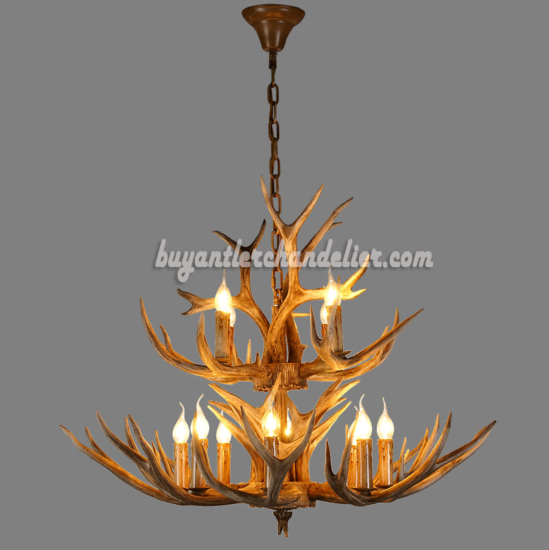 Buy 12 deer antler chandelier 2 tiers cascade candle style rustic buy 12 deer antler chandelier 8 4 cast cascade candle style rustic lighting fixtures mozeypictures Gallery