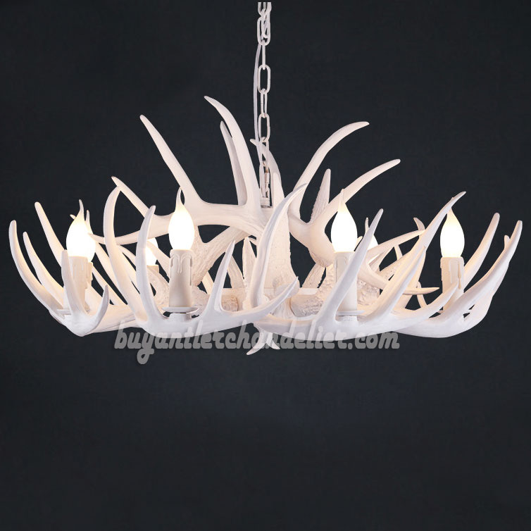 Buy 6 antler pure white deer chandelier six ceiling lights buy 6 antler pure white deer chandelier six cast cascade candle style ceiling lights aloadofball Choice Image