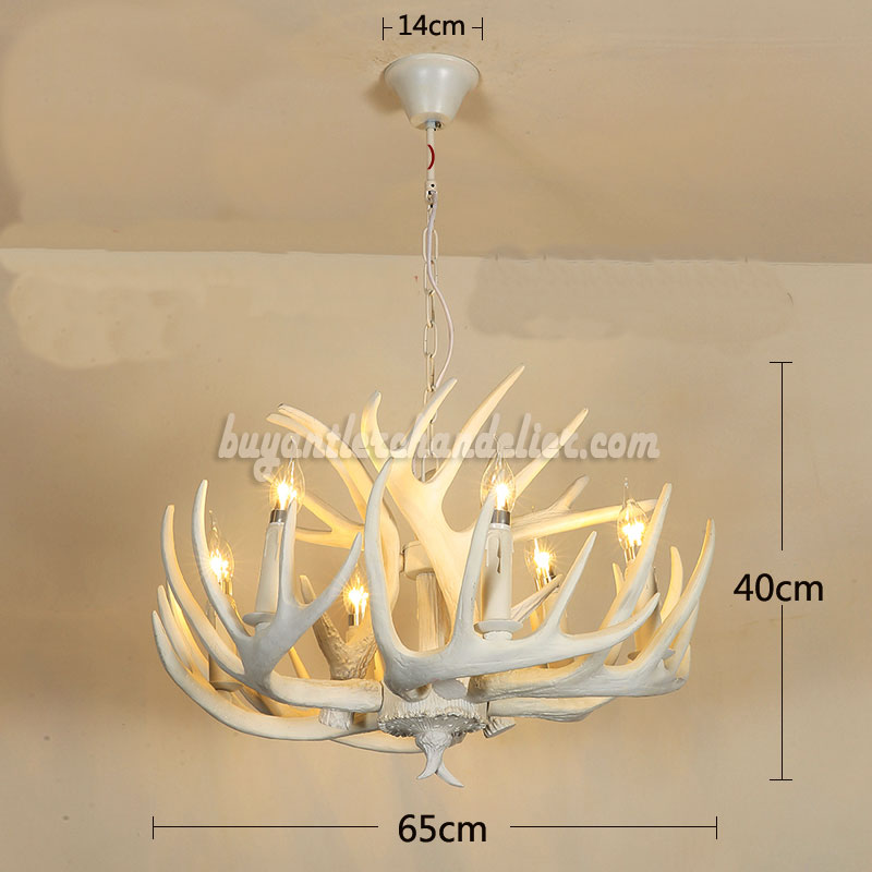 6 Antler Pure White Deer Chandelier Six Cast Cascade Candle Style Ceiling Lights