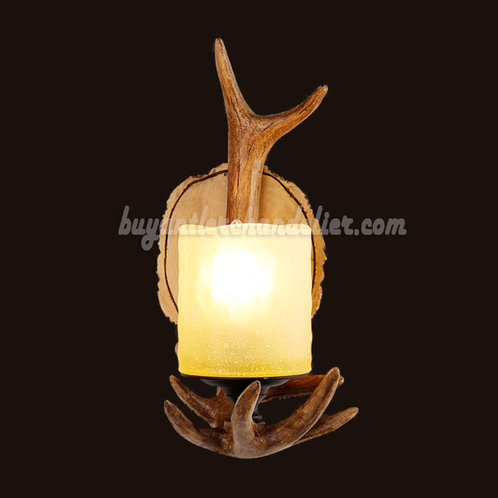 Rustic Style Wall Lights : Single Deer Antler Sconce Wall Lamps Mount Decor buyantlerchandelier.com