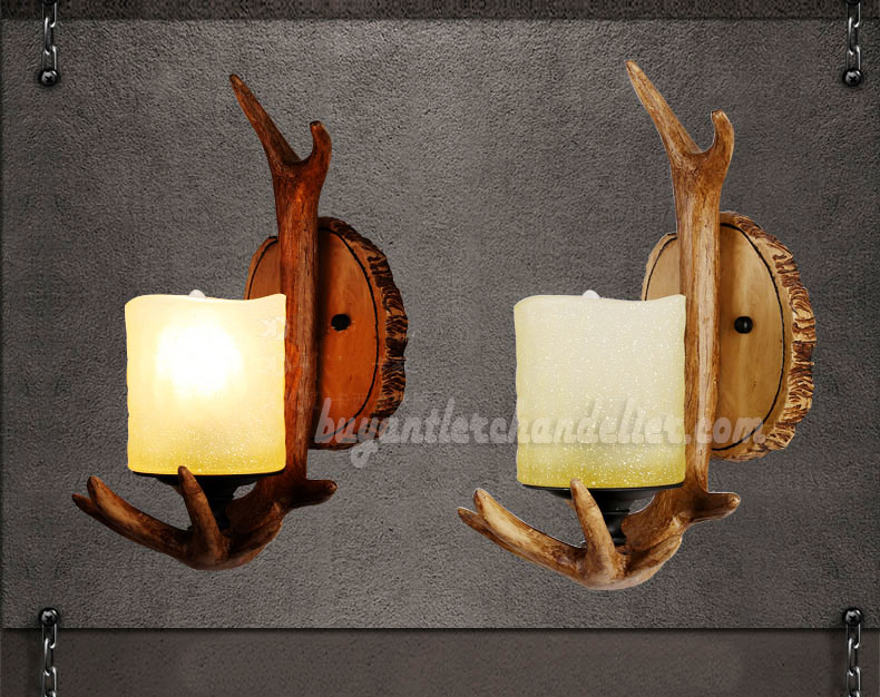 Single Deer Antler Sconce Wall Lamps Mount Decor Candle Style Lights Rustic Lighting Fixtures