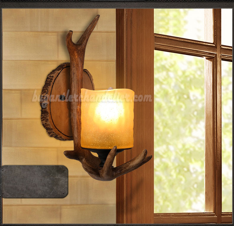 lamp detail product sconces deer led wall antler sconce acrylic modern