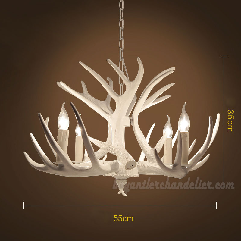 4 Cast Pure White Deer Chandelier Four Pendant Lights Candelabra Rustic Style Lighting Home Decor