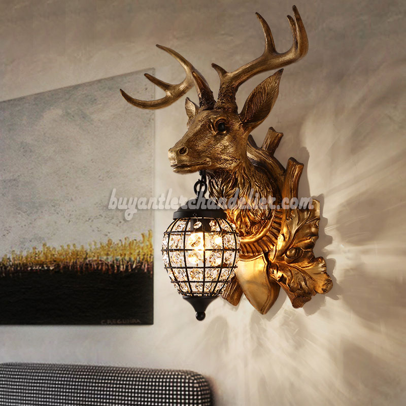 Deer head antler wall lamps crystal hanging lights decor deer head antler wall lamps crystal hanging lights faux stag taxidermy mount decor 18 bronze mozeypictures Gallery