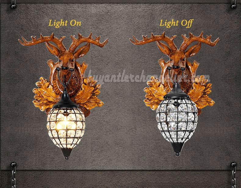 Faux Crystal Wall Sconces : Deer Head Antler Wall Crystal Lamps Faux Wood Reindeer Taxidermy buyantlerchandelier.com