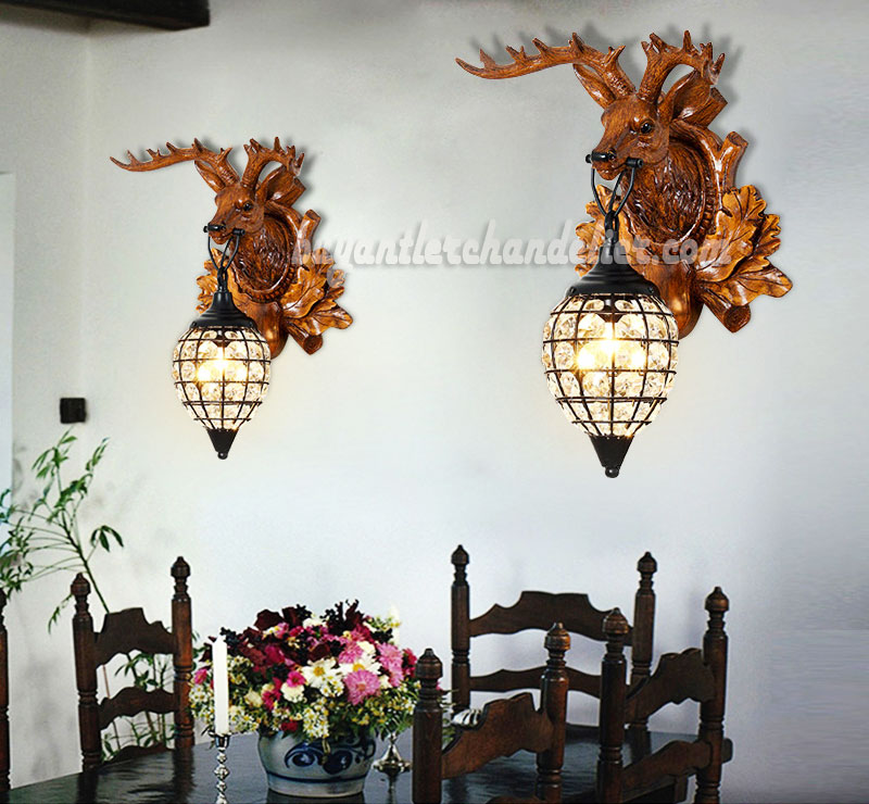 Wall Sconces With Hanging Crystals : Deer Head Antler Wall Crystal Lamps Faux Wood Reindeer Taxidermy buyantlerchandelier.com