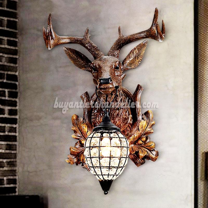 Deer Head Wall Lamps Crystal Lights Faux Wood Taxidermy