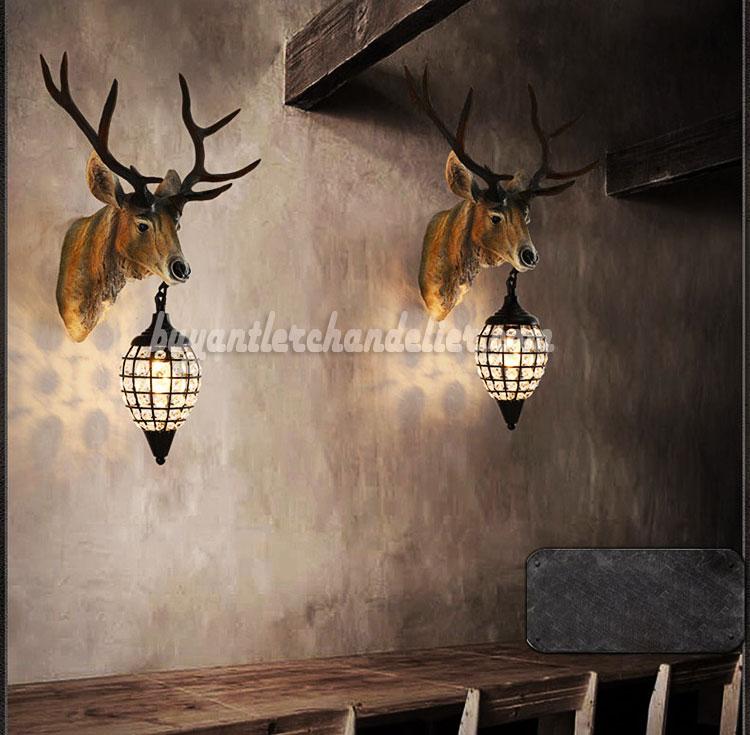 Deer Head Wall Mount Sconces Crystal Pendant Lamps Faux