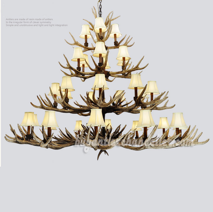 Deluxe 31 antler chandelier 4 tiers cascade ceiling lights deluxe 31 antler 4 tiers cast cascade 12 9 6 4 candelabra ceiling aloadofball Image collections