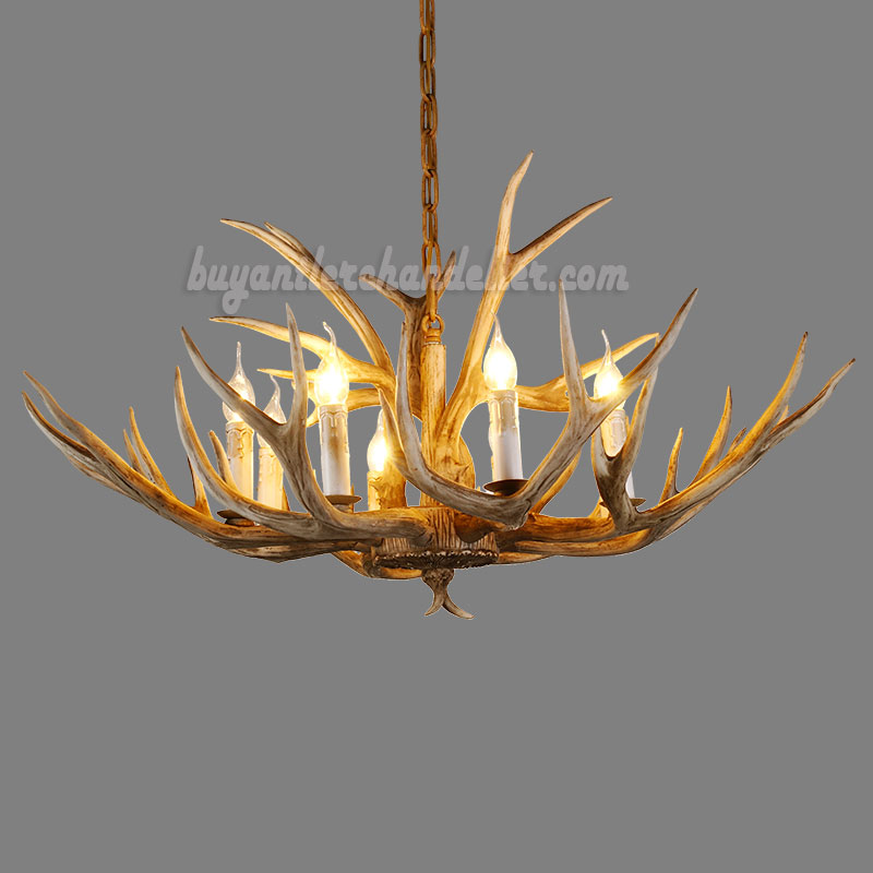 Eight deer antler chandelier natural color 8 candle style ceiling lighting fixtures this candelabra stylized chandelier is perfect for a mountain cabin or lake house aloadofball Choice Image