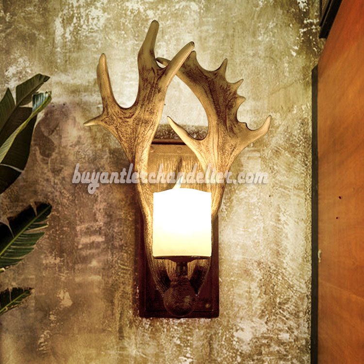fallow sconce real sconces chandelier category antler whitetail deer