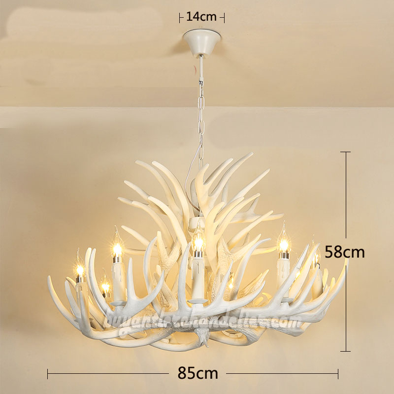 Pure white deer antler chandelier cascade pendant lighting pure white 15 cast deer antler chandelier 9 candle style ceiling lights 3 tiers cascade aloadofball Gallery