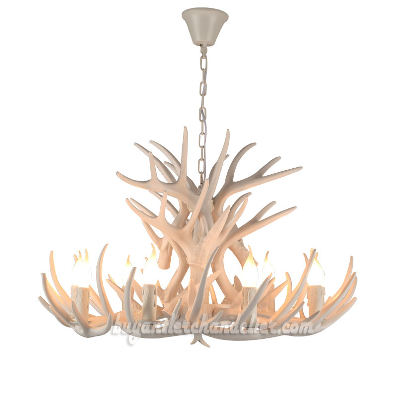 Pure White 15 Cast Deer Antler Chandelier 9 Candle Style Ceiling Lights 3  Tiers Cascade