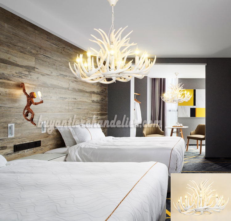 Pure white deer antler chandelier cascade pendant lighting pure white 15 cast deer antler chandelier 9 candle style ceiling lights 3 tiers cascade mozeypictures Image collections