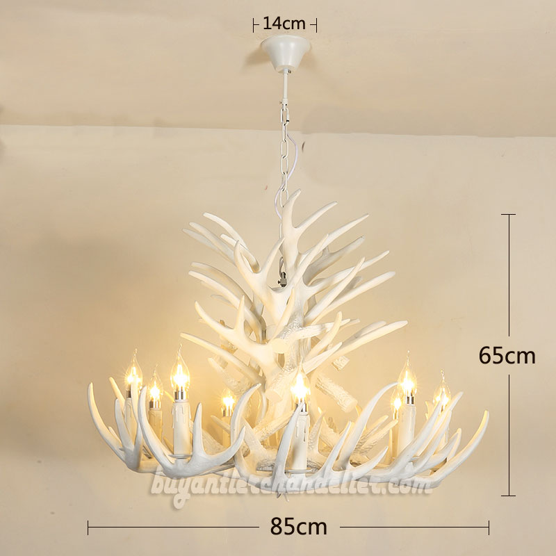 Pure white 18 cast deer antler chandelier ceiling lights pure white 18 cast deer antler chandelier 9 candelabra ceiling lights 4 tiers cascade pendant lighting mozeypictures Gallery