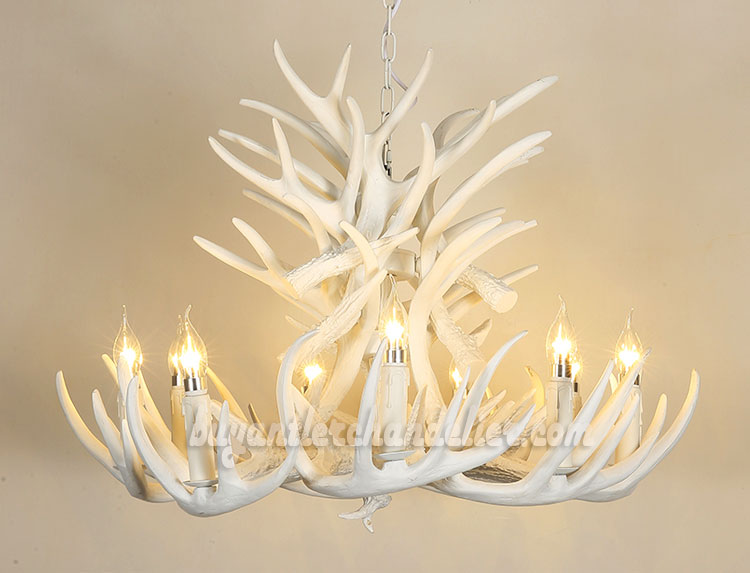 Pure White 18 Cast Deer Antler Chandelier 9 Candelabra Ceiling Lights 3  Tiers Cascade Pendant Lighting