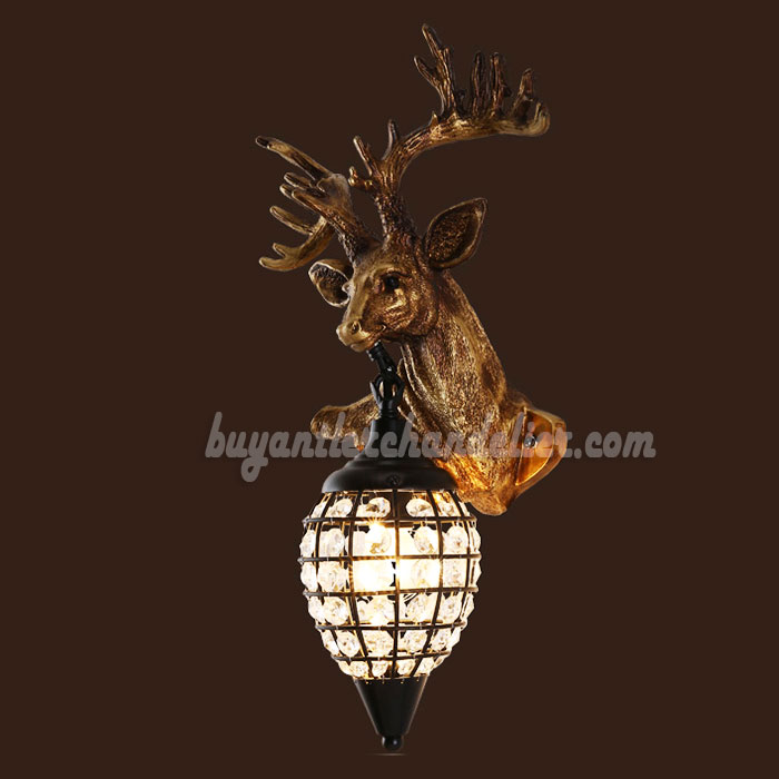 sconces double cast antler lamp wall sconce