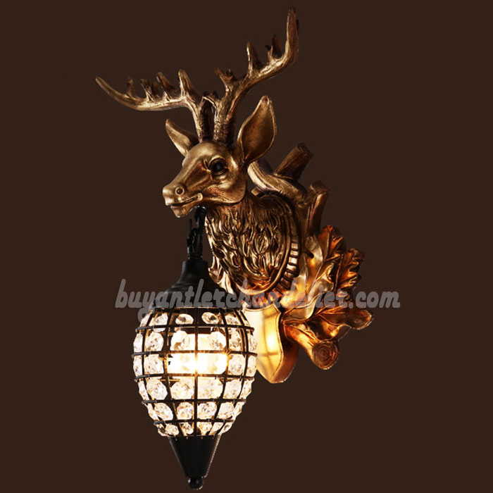 head decoration sconce from lights bed horn on wall home in lamp lamps light resin diamond item antler lighting deer modern sconces