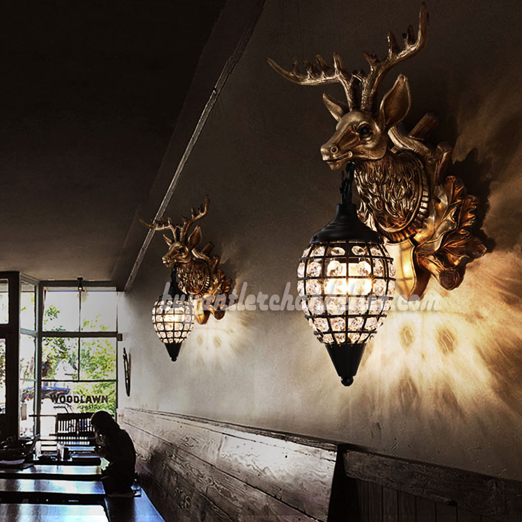 Stag Deer Head Antler Wall Sconces Lamps Hanging Lights