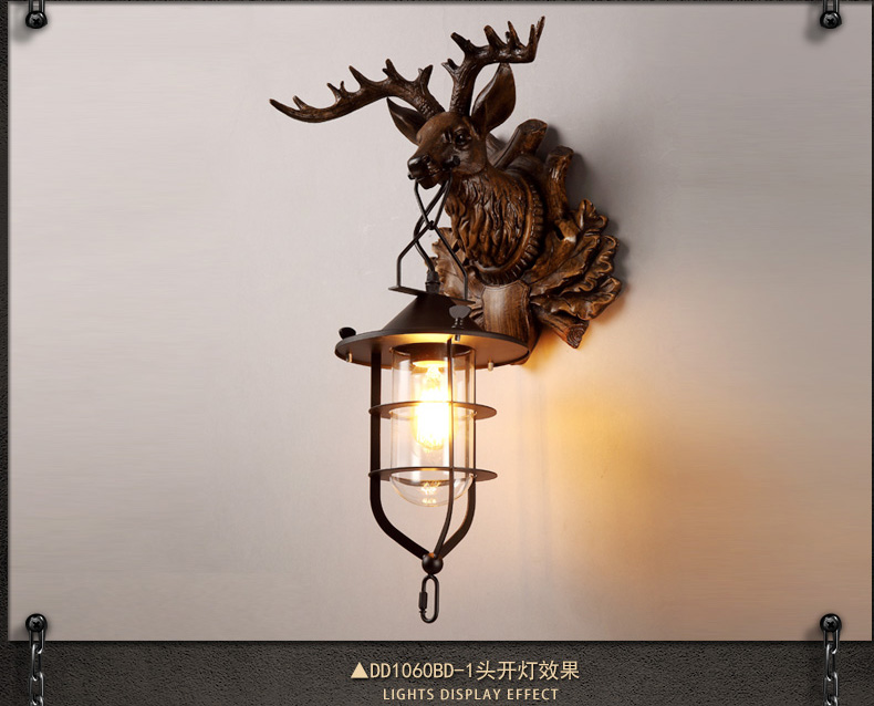12 Lamps Wall Decor : Deer Head Wall Lamps Lantern Reindeer Faux Taxidermy Rustic Lighting buyantlerchandelier.com