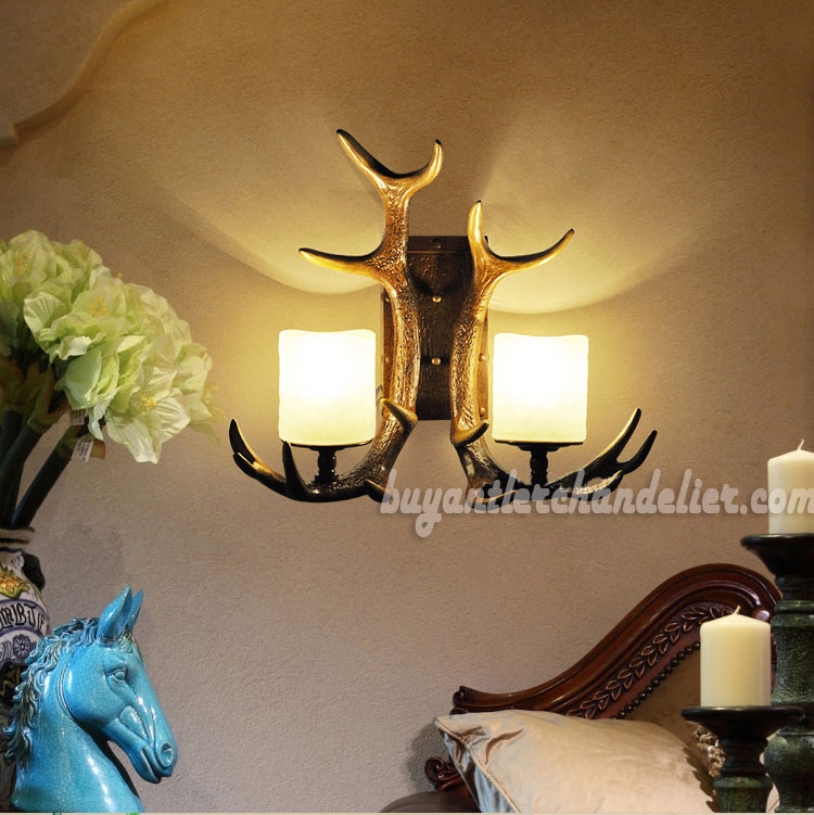 Chandelier Style Wall Sconces : Whitetail 2 Antler Wall Sconces Corridor Lamps Rustic Lighting buyantlerchandelier.com