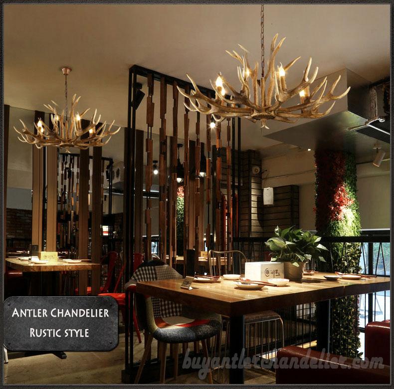 6 Cast Elk Antler Chandelier Six Candle Style Pendant Lights Rustic Lighting Home Decorating 34