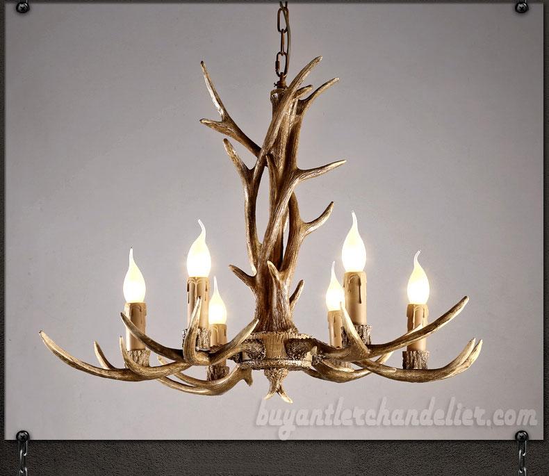6 cast elk deer antler chandelier six candelabra ceiling for Antler decorations for home