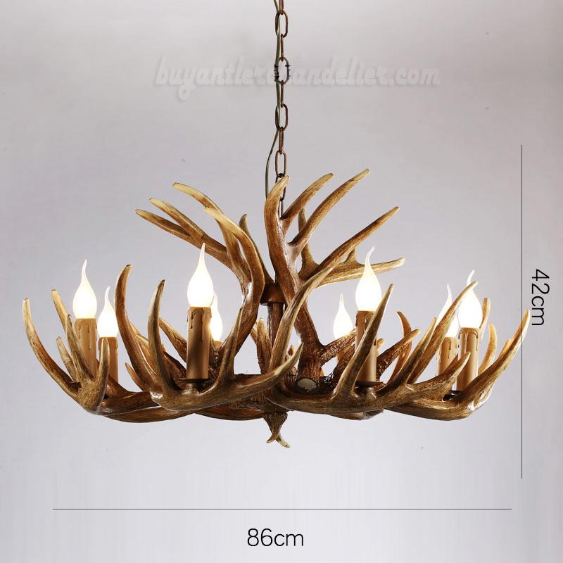 Buy Vintage 8 Cast Deer Antler Chandelier Eight Candelabra Rustic Style Pendant Ceiling Lights Home Decor