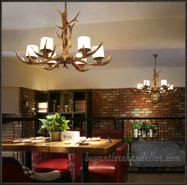 Pendant Lighting By Rustic State Authentic Vintage Lights: Elk 6 Antler Chandelier Candle-Style Pendant Lights