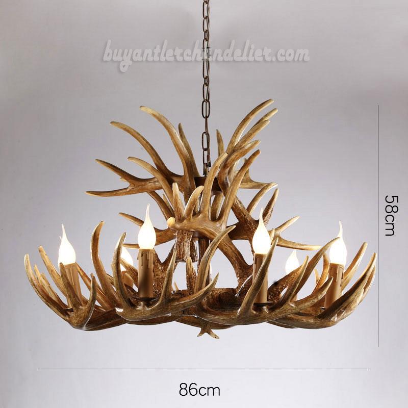 15 cast antler chandelier 9 6 ceiling lights rustic for Chandelier mural antique