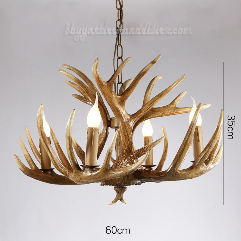 Vintage Deer 4 Antler Chandelier Rustic Lighting Home