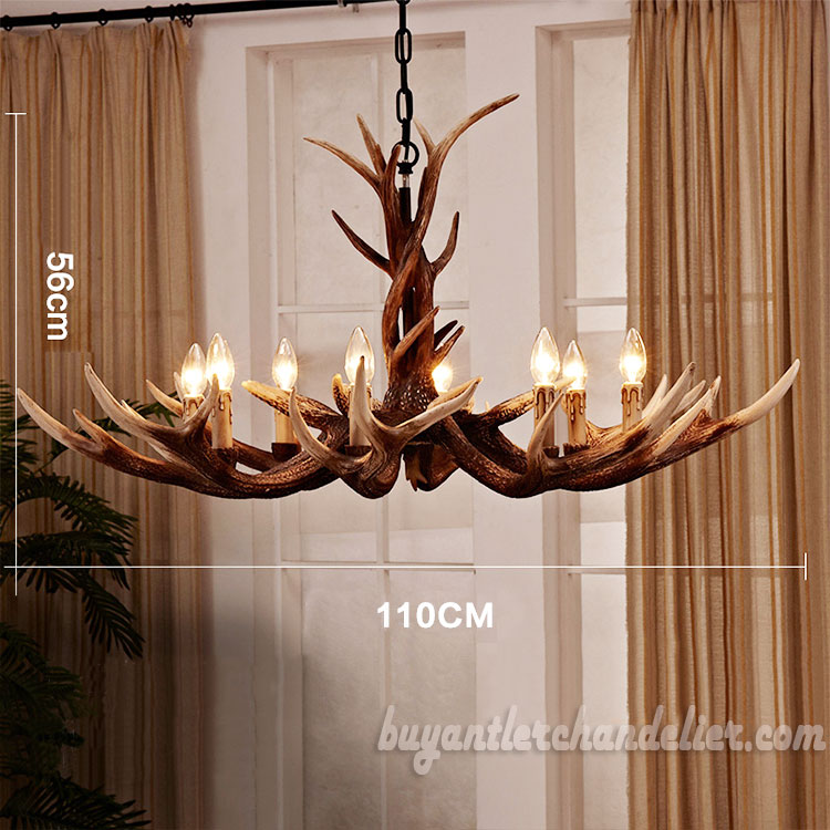 Deluxe 8 Cast Elk Antler Chandelier Candelabra Pendant Light Living Room Rustic Lighting Fixtures Decoration 43