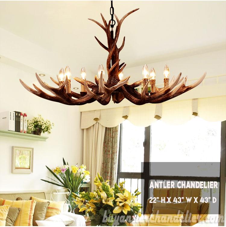 Lighting Deluxe deluxe 8 cast elk antler chandelier living room rustic lighting