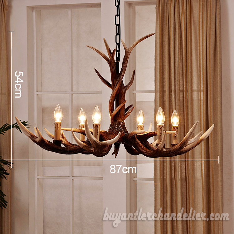 Six Cast Antler Chandelier 6 Candle Style Lights Living Room Pendant Rustic Lighting Fixtures Deluxe